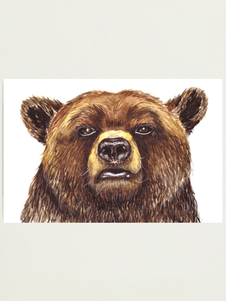 Alternate view of Watercolor Grizzly Bear Photographic Print
