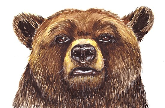 Watercolor Grizzly Bear by Erika Lancaster