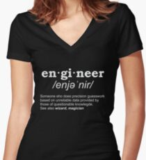 English is important but engineering Women's Fitted V-Neck T-Shirt