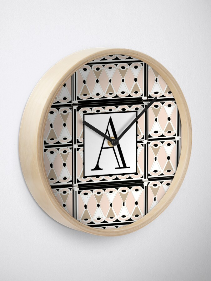 Alternate view of 1920s Pink Champagne Deco Monogram letter A Clock