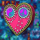 Peace and Love Heart by Carrie Dennison