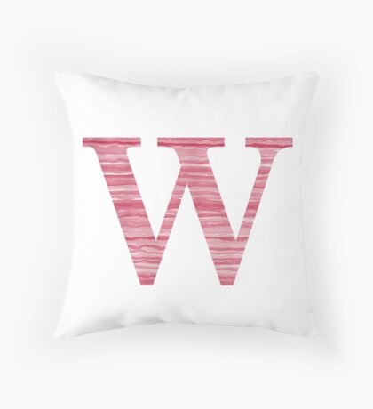 Letter W Red Watercolor Stripes Initial Monogram Throw Pillow