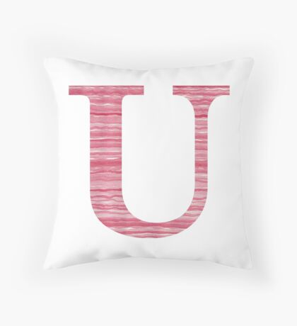 Letter U Red Watercolor Stripes Initial Monogram Throw Pillow
