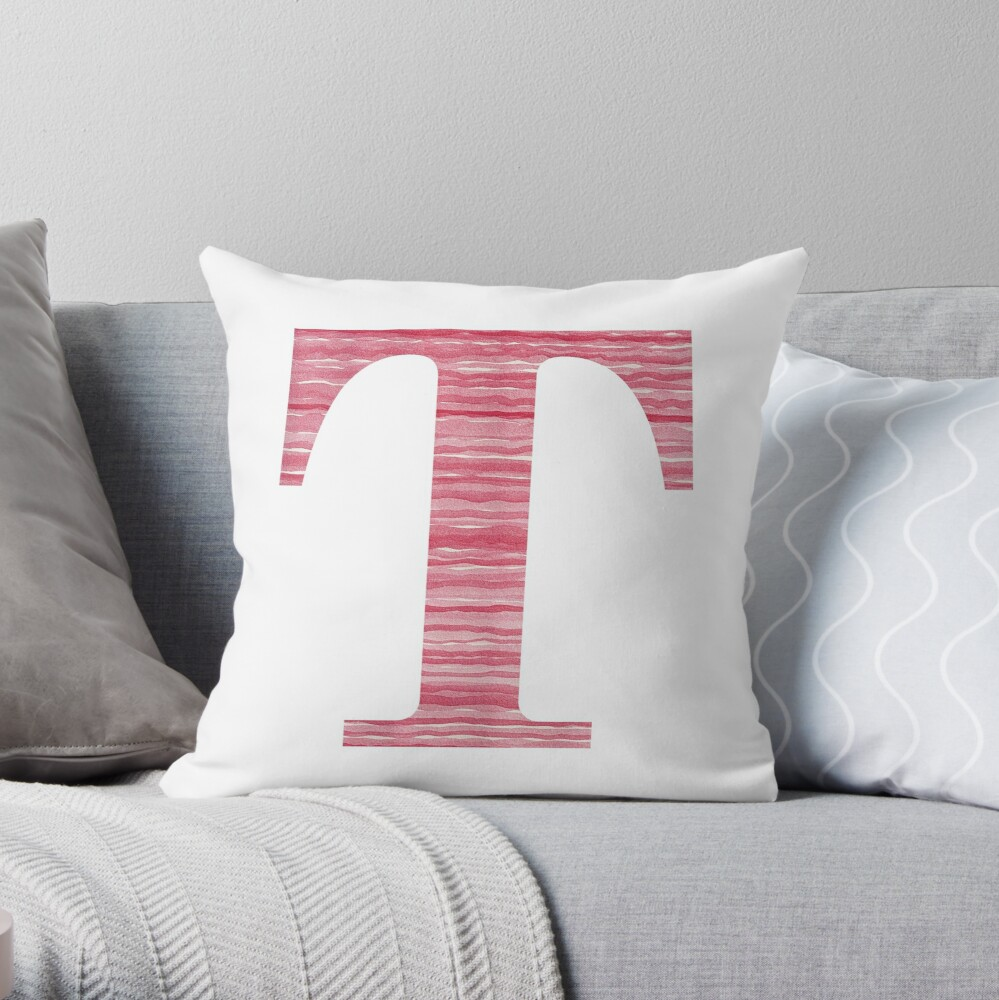 Letter T Red Watercolor Stripes Initial Monogram Throw Pillow