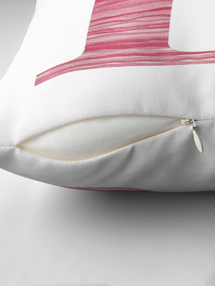 Alternate view of Letter R Red Watercolor Stripes Initial Monogram Throw Pillow