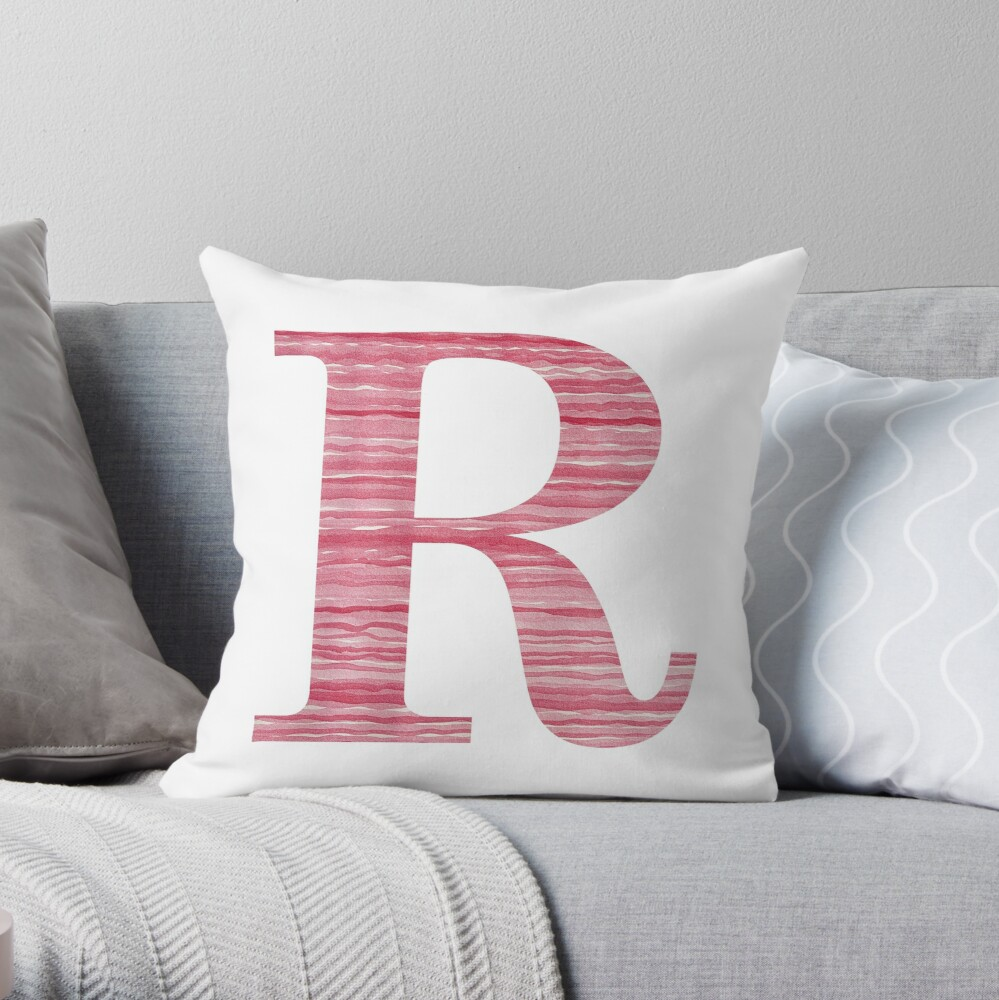 Letter R Red Watercolor Stripes Initial Monogram Throw Pillow