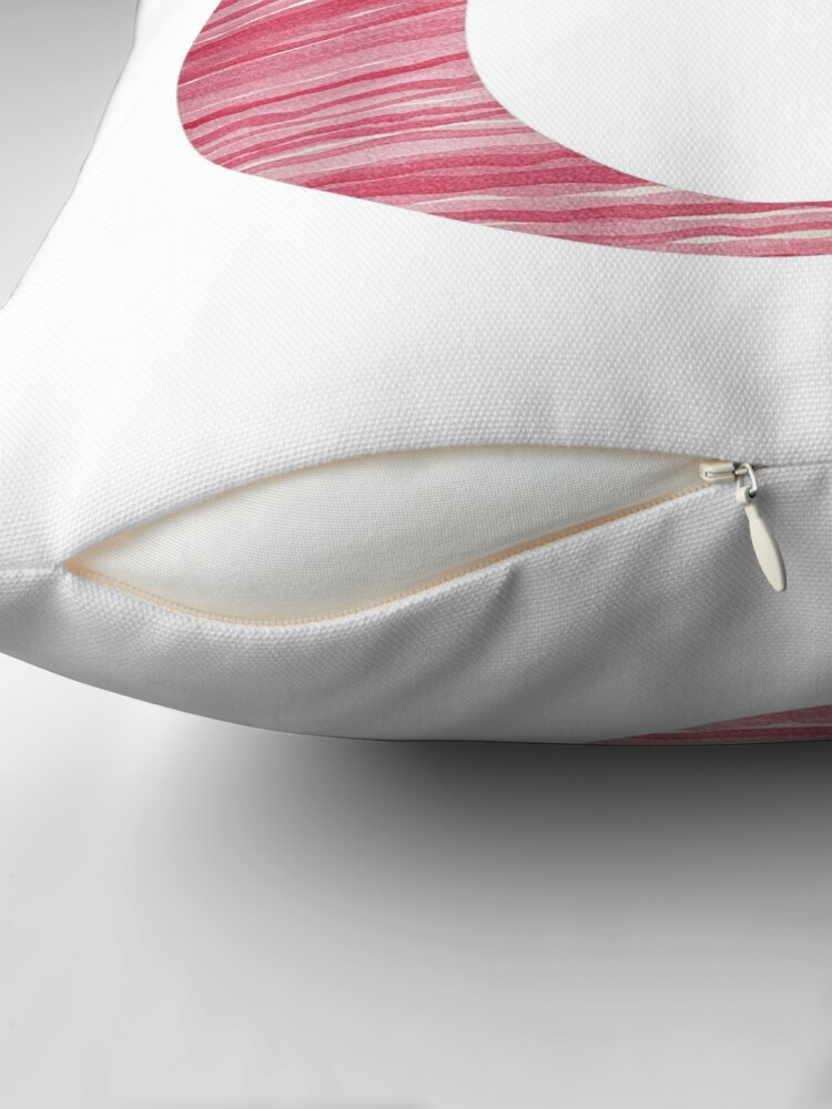 Alternate view of Letter O Red Watercolor Stripes Initial Monogram Throw Pillow