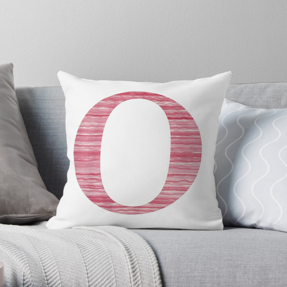 Letter O Red Watercolor Stripes Initial Monogram Throw Pillow