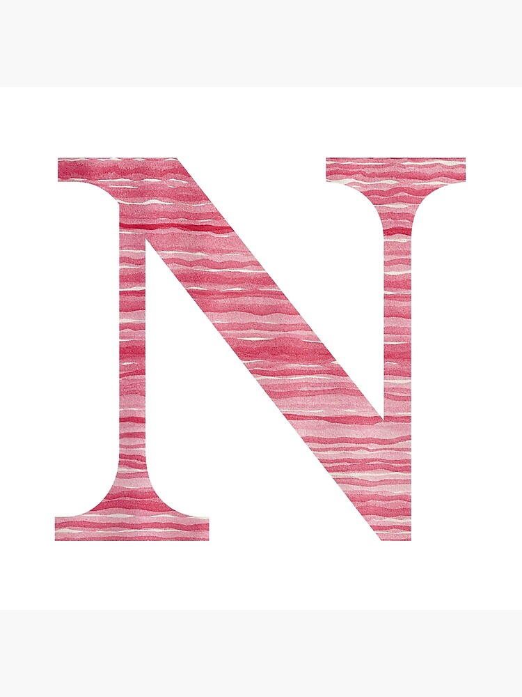 Letter N Red Watercolor Stripes Initial Monogram  by theartofvikki