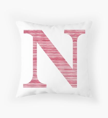 Letter N Red Watercolor Stripes Initial Monogram  Throw Pillow