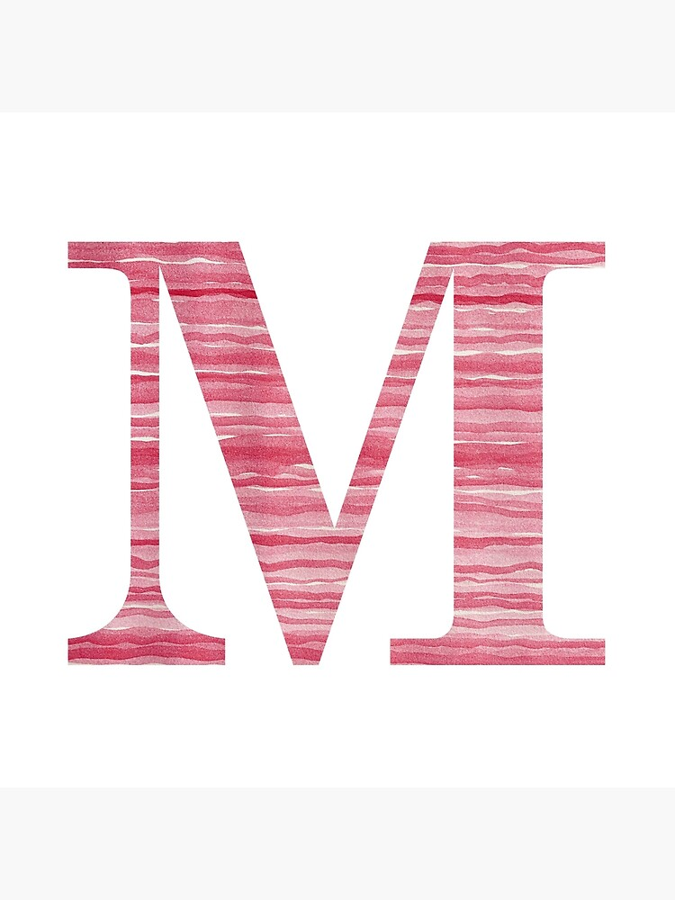 Letter M Red Watercolor Stripes Initial Monogram by theartofvikki