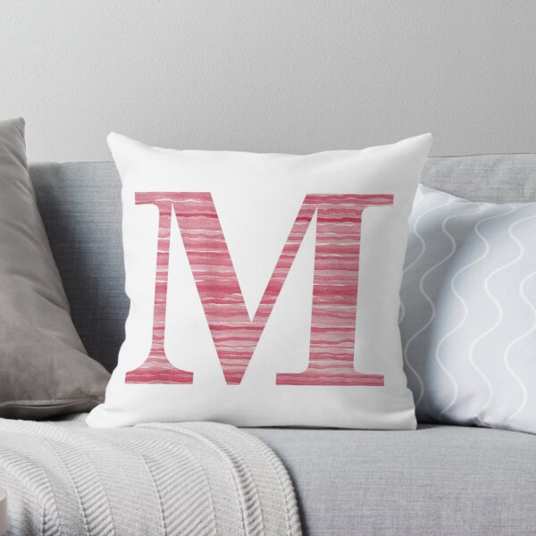 Letter M Red Watercolor Stripes Initial Monogram Throw Pillow