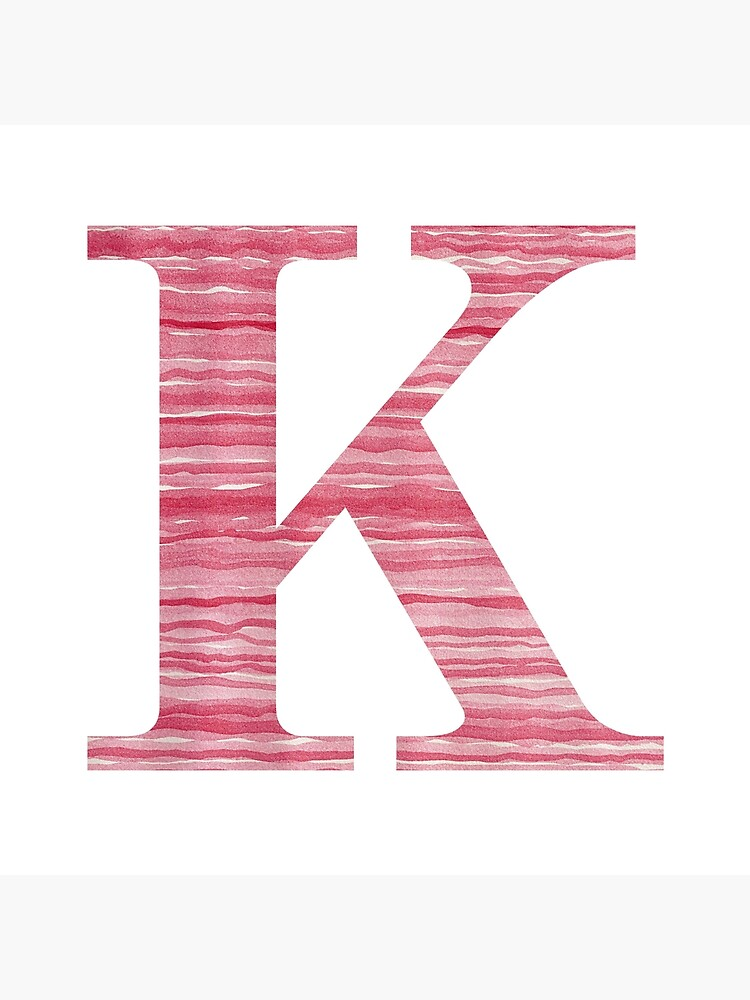 Letter K Red Watercolor Stripes Initial Monogram by theartofvikki