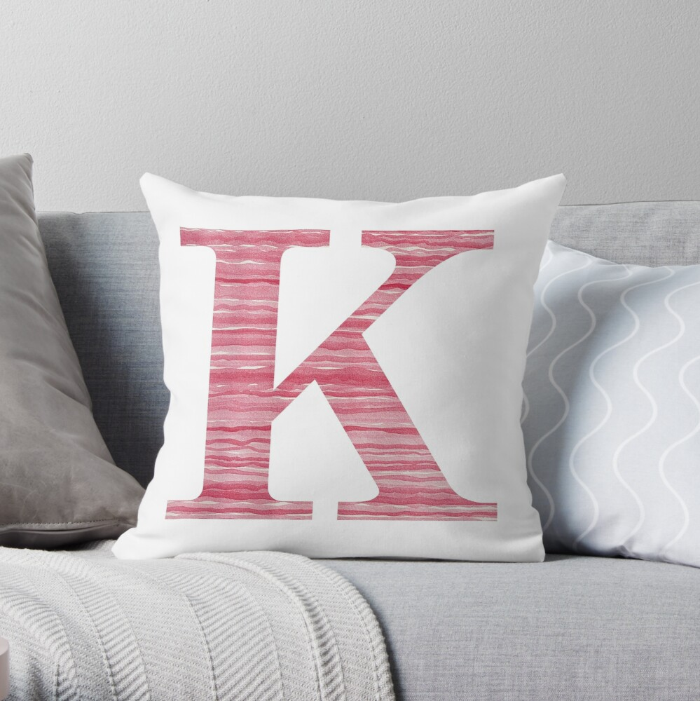 Letter K Red Watercolor Stripes Initial Monogram Throw Pillow