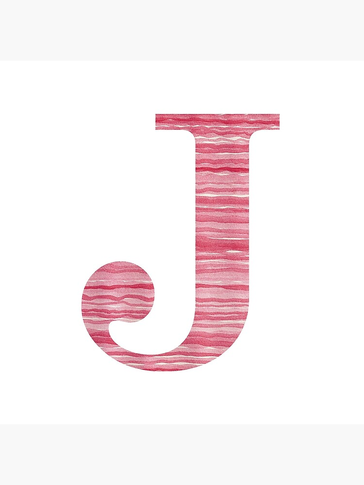 Letter J Red Watercolor Stripes Initial Monogram by theartofvikki