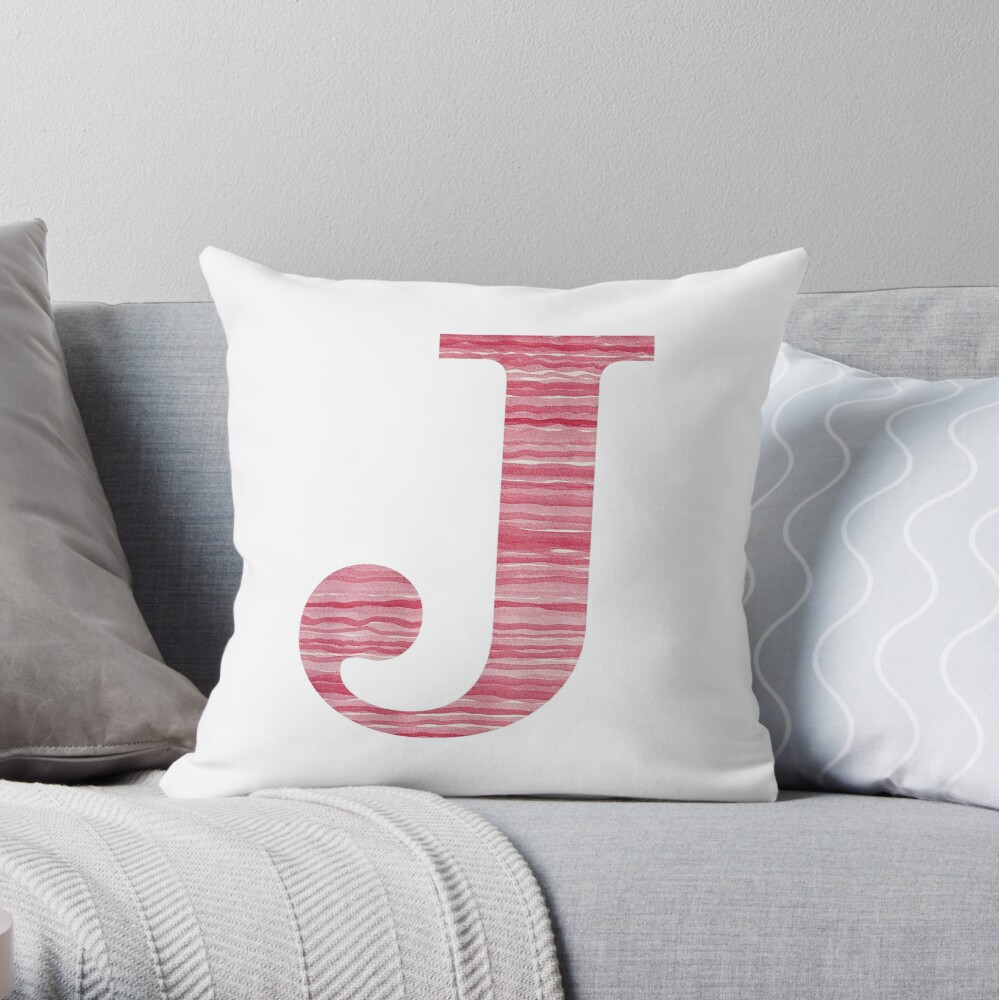 Letter J Red Watercolor Stripes Initial Monogram Throw Pillow
