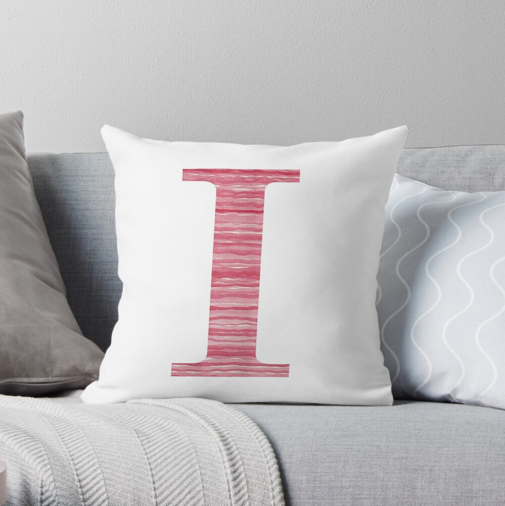 Letter I Red Watercolor Stripes Initial Monogram Throw Pillow