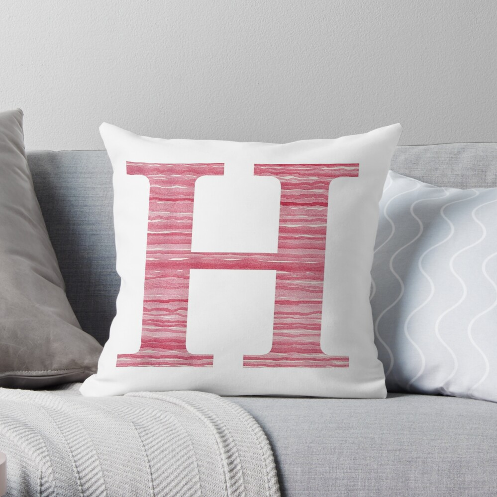 Letter H Red Watercolor Stripes Initial Monogram Throw Pillow