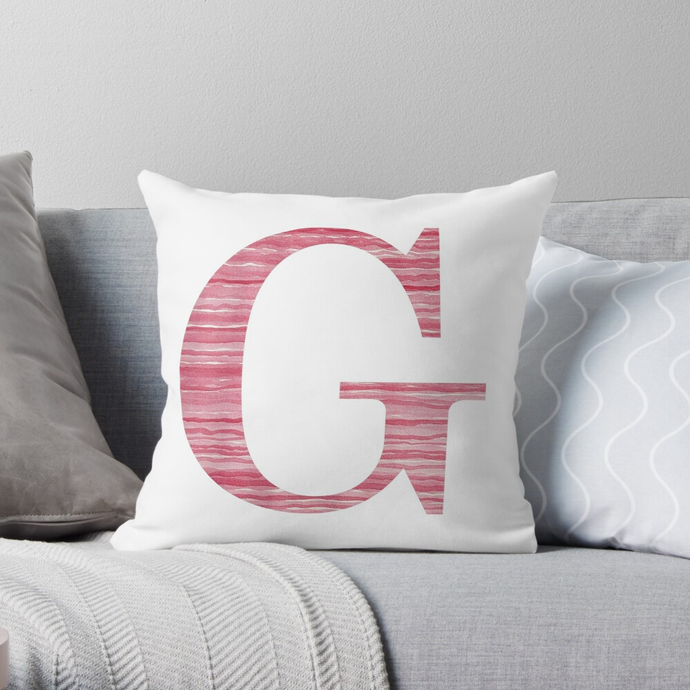 Letter G Red Watercolor Stripes Initial Monogram  Throw Pillow