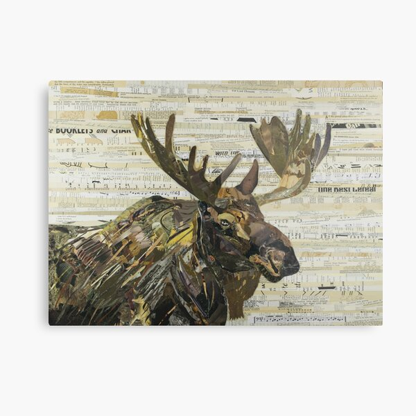 Eastern Moose Collage by C.E. White Metal Print