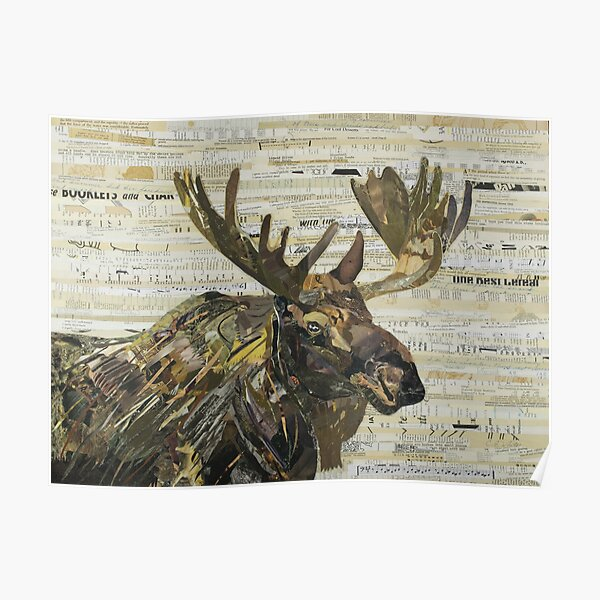 Eastern Moose Collage by C.E. White Poster