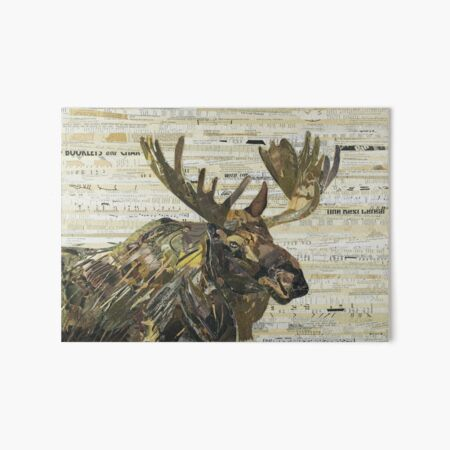 Eastern Moose Collage by C.E. White Art Board Print
