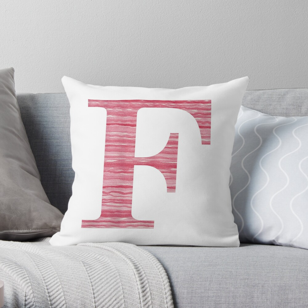 Letter F Red Watercolor Stripes Initial Monogram Throw Pillow