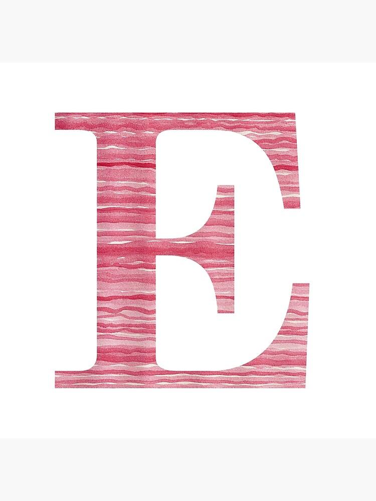 Letter E Red Watercolor Stripes Initial Monogram  by theartofvikki