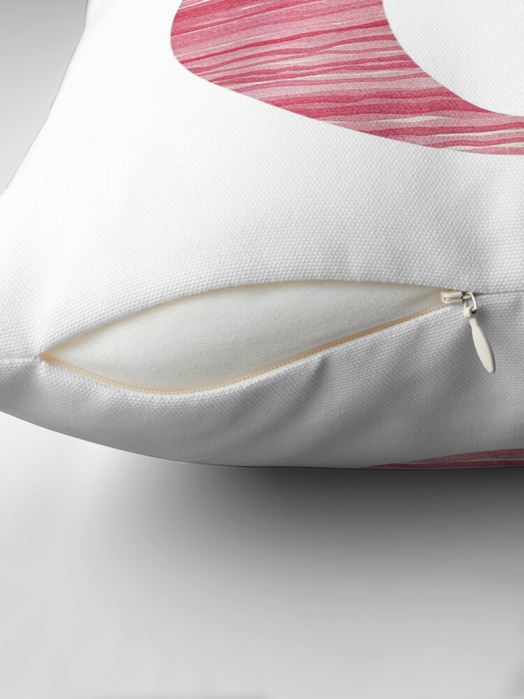 Alternate view of Letter C Red Watercolor Stripes Initial Monogram Throw Pillow