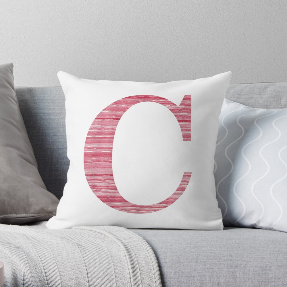 Letter C Red Watercolor Stripes Initial Monogram Throw Pillow