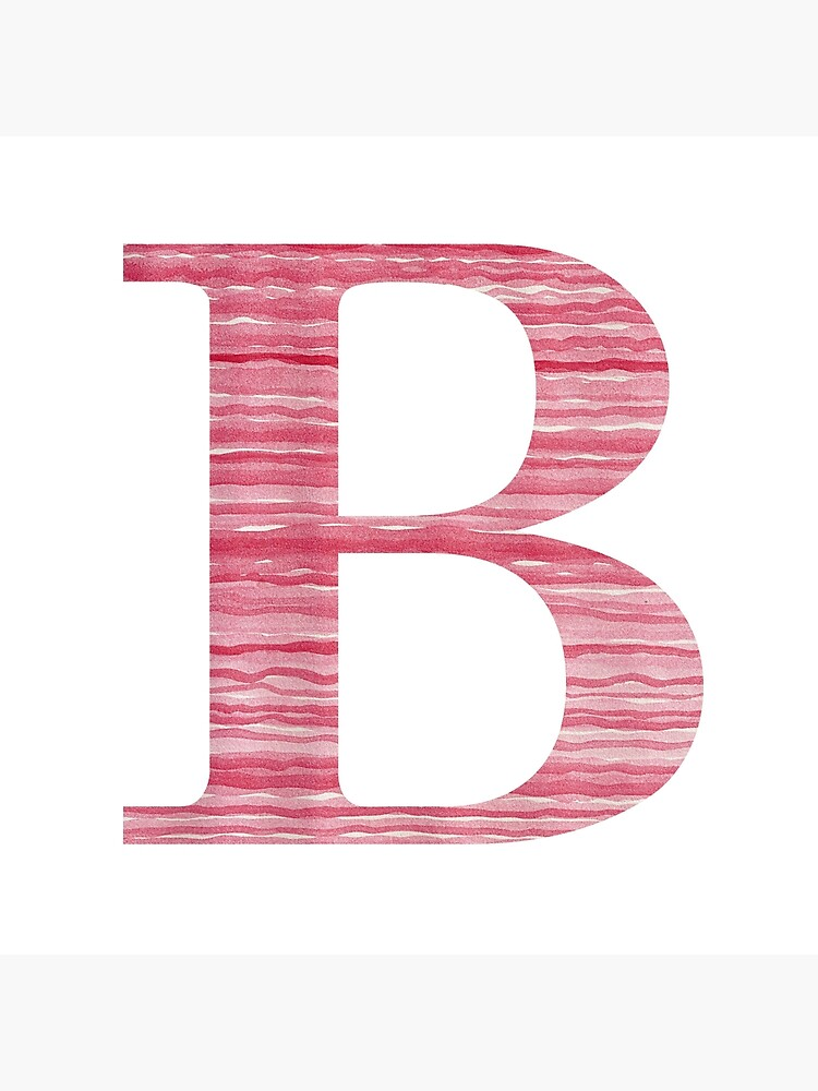 Letter B Red Watercolor Stripes Initial Monogram by theartofvikki