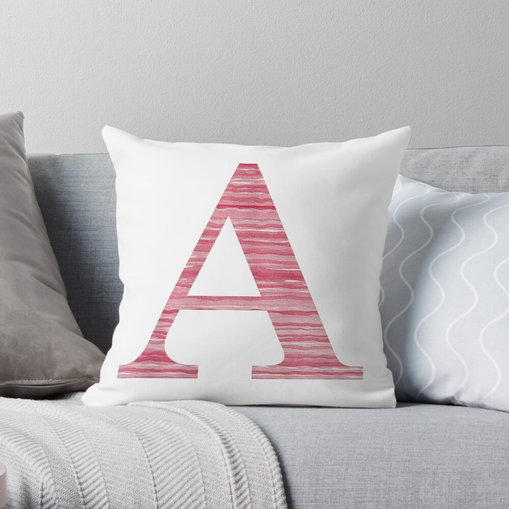 Letter A Red Watercolor Stripes Initial Monogram Throw Pillow