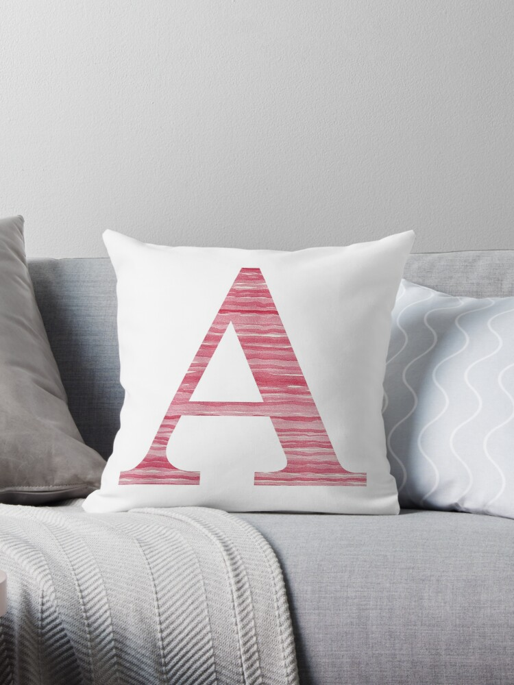 Letter A Red Watercolor Stripes Initial Monogram by theartofvikki