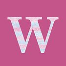 Letter W Blue And Pink Dots And Dashes Monogram Initial by theartofvikki