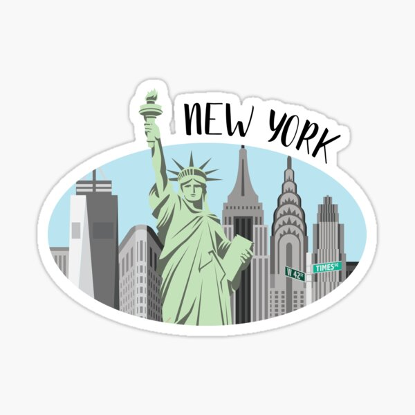 New York City Skyline Illustration Sticker