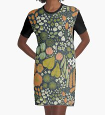 Botanical Sketchbook M+M Navy by Friztin Graphic T-Shirt Dress