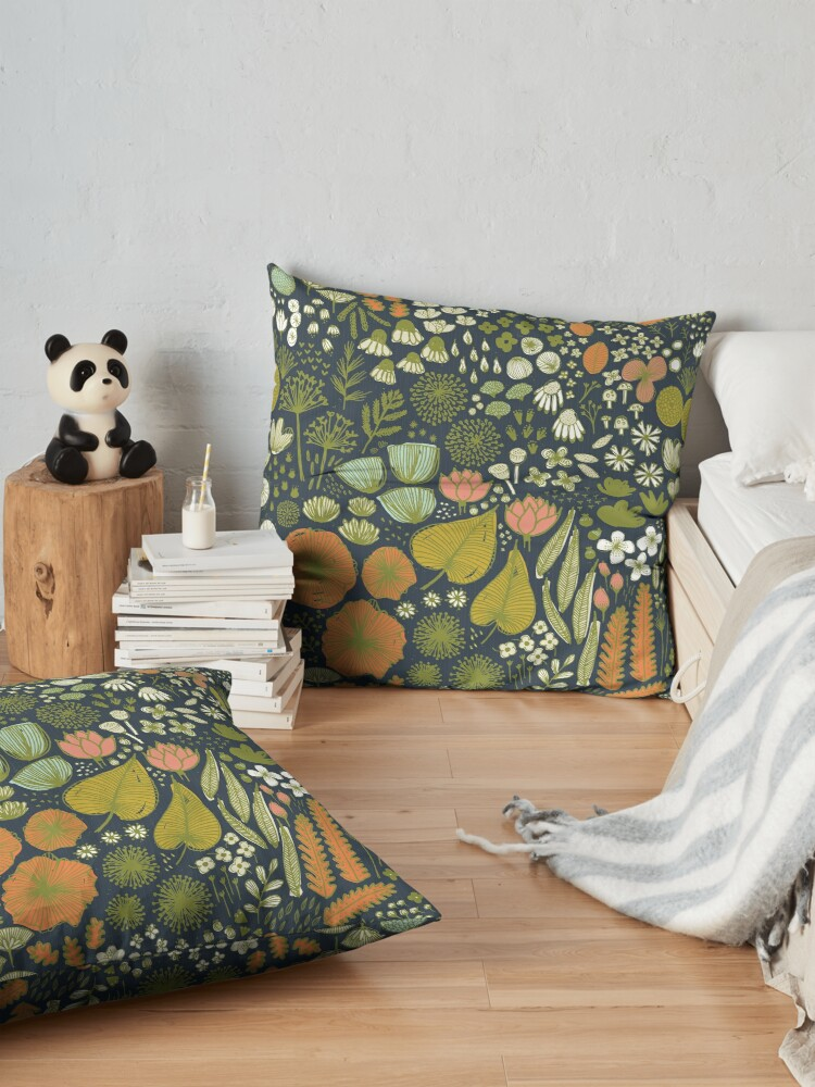 Alternate view of Botanical Sketchbook M+M Navy by Friztin Floor Pillow