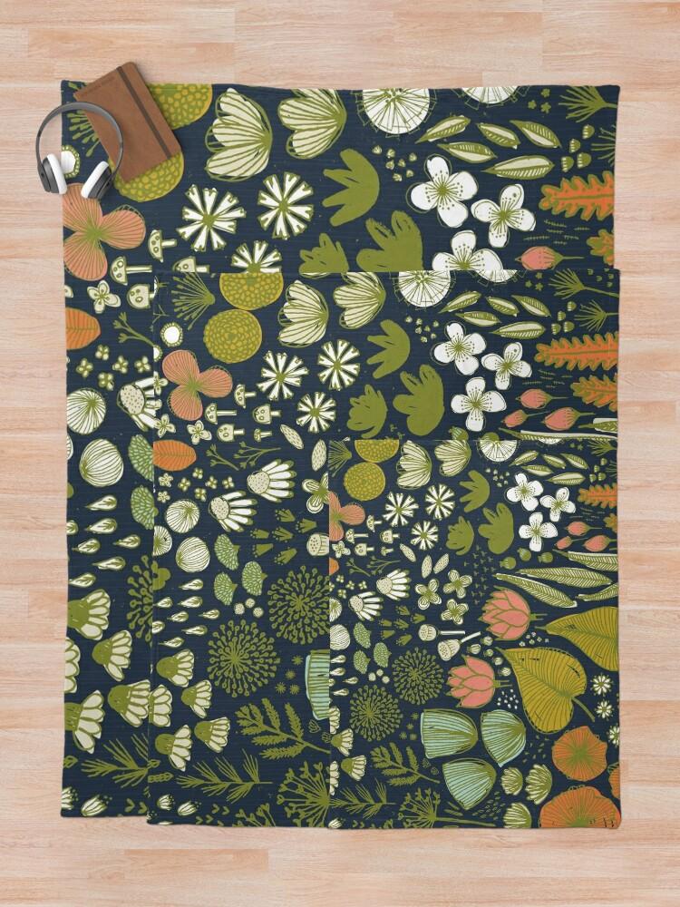 Alternate view of Botanical Sketchbook M+M Navy by Friztin Throw Blanket