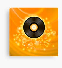 Retro Vinyl Disc on Orange Blurred Background Canvas Print