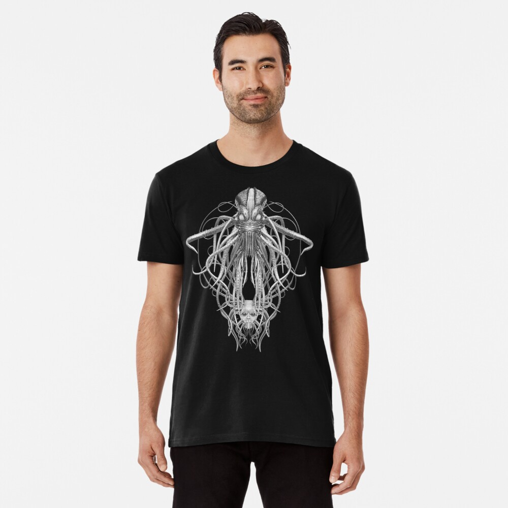 Cthulhu / Kraken in Black and White Men's Premium T-Shirt Front