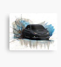 Black Subaru WRX Drift Watercolor Metal Print