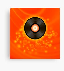Retro Vinyl Disc on Red Blurred Background Canvas Print