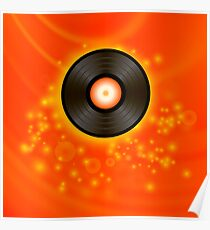 Retro Vinyl Disc on Red Blurred Background Poster