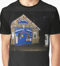 """Aidensfield Garage"" at night. Graphic T-Shirt"