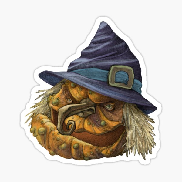 Ugly Pumpkin Witch Sticker