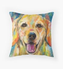 Artistic and Colorful Painting of Golden Retriever Smiling Throw Pillow