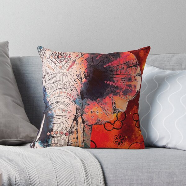 Elephant Indian Asian Elephants Sketched Art Throw Pillow