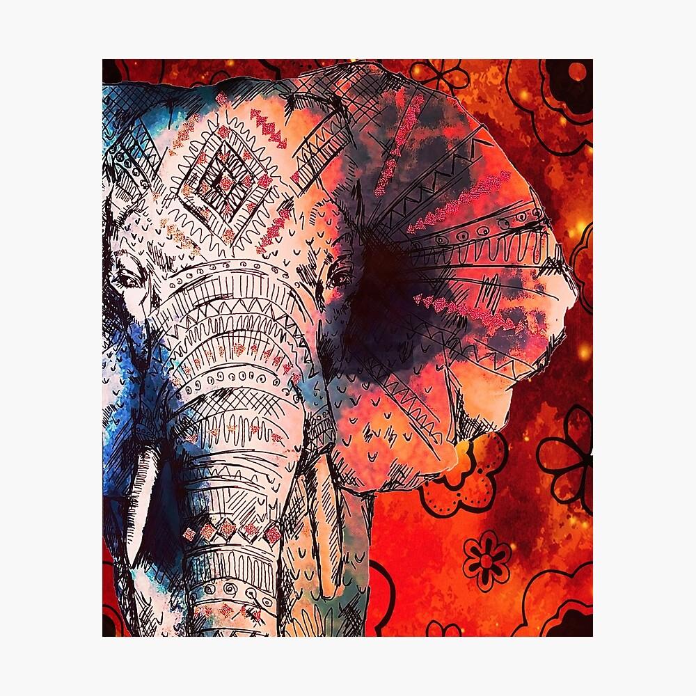 Indische asiatische Elefanten des Elefanten skizzierte Kunst Fotodruck
