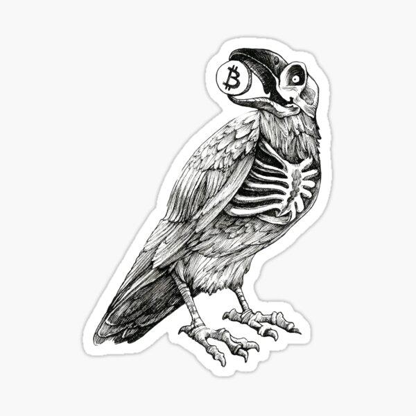 Zombie Raven holding a Bitcoin Sticker