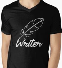 Writer with feather quill Men's V-Neck T-Shirt